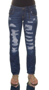 Suede Juniors' Ripped Dark Wash Boyfriend Jeans Size 25