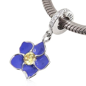 Leobeads 925 Sterling Silver Blue Enamel Orchid Charm Flower Dangle Pendant with CZ Crystal Fit Pandora Style Bracelet Necklace