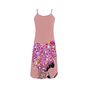 Abbie Miller Sketch Custom Women's Polyester Casual Slip Dress Pink B