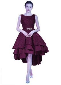 Angel Formal Dresses Women's A-Line Jewel Straps High Low Tea Length Lace Prom Dress Evening Gown(20,Grape)