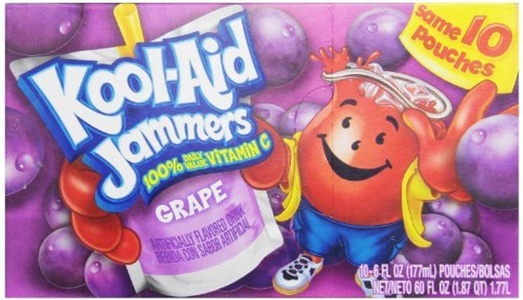 Kool-Aid Grape Jammers, 10-Count, 6-Ounce Pouches (Pack of 4) by Kool-Aid