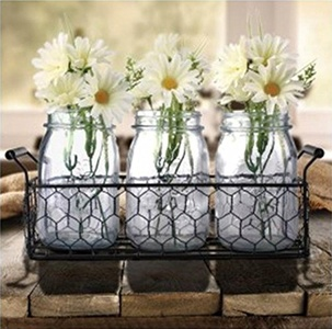 Vintage Styled Mason Jar Set - 3 Glass Jars with Raised Fruit Designs in a Decorative Black Metal Rack with Handles