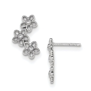 .925 Sterling Silver 18 MM Textured With CZ Flower Post Stud Earrings