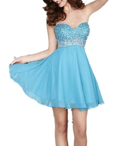 Winnie Bride 2016 Beading Homecoming Dress Short Cocktail Party Dress for Women-20W-Sky Blue