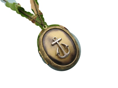 Sail Away,Anchor Locket,Luck,Nautical Necklace,Bronze Locket Necklace, Locket,Anchor,Ocean Locket