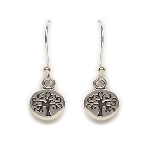 Tomas Sterling Silver Black Enamel Tree of Life Hook Earrings