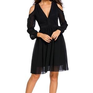 MAX Sonne Women Off the Shoulder Chiffon Trim Detail Long Sleeve Skater Party Dress