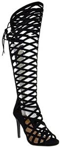 Witness Womens Thigh High Criss Cross Cut Out Open Toe Dress Sandals Black 11