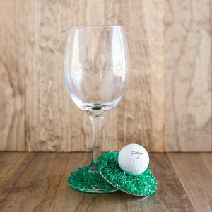 Wine Glass Topper Golf Ball and Putting Green Wine Glass