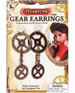 Steampunk Gear Earrings - Bronze by Steampunk