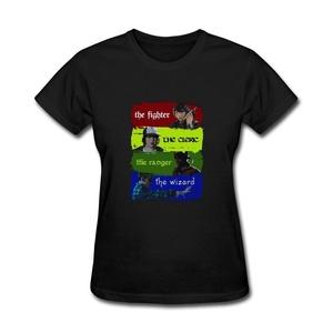 ZhiBo Women's Vintage the Fighter Cleric Ranger Wizard Customized T-shirts Black Medium Woman
