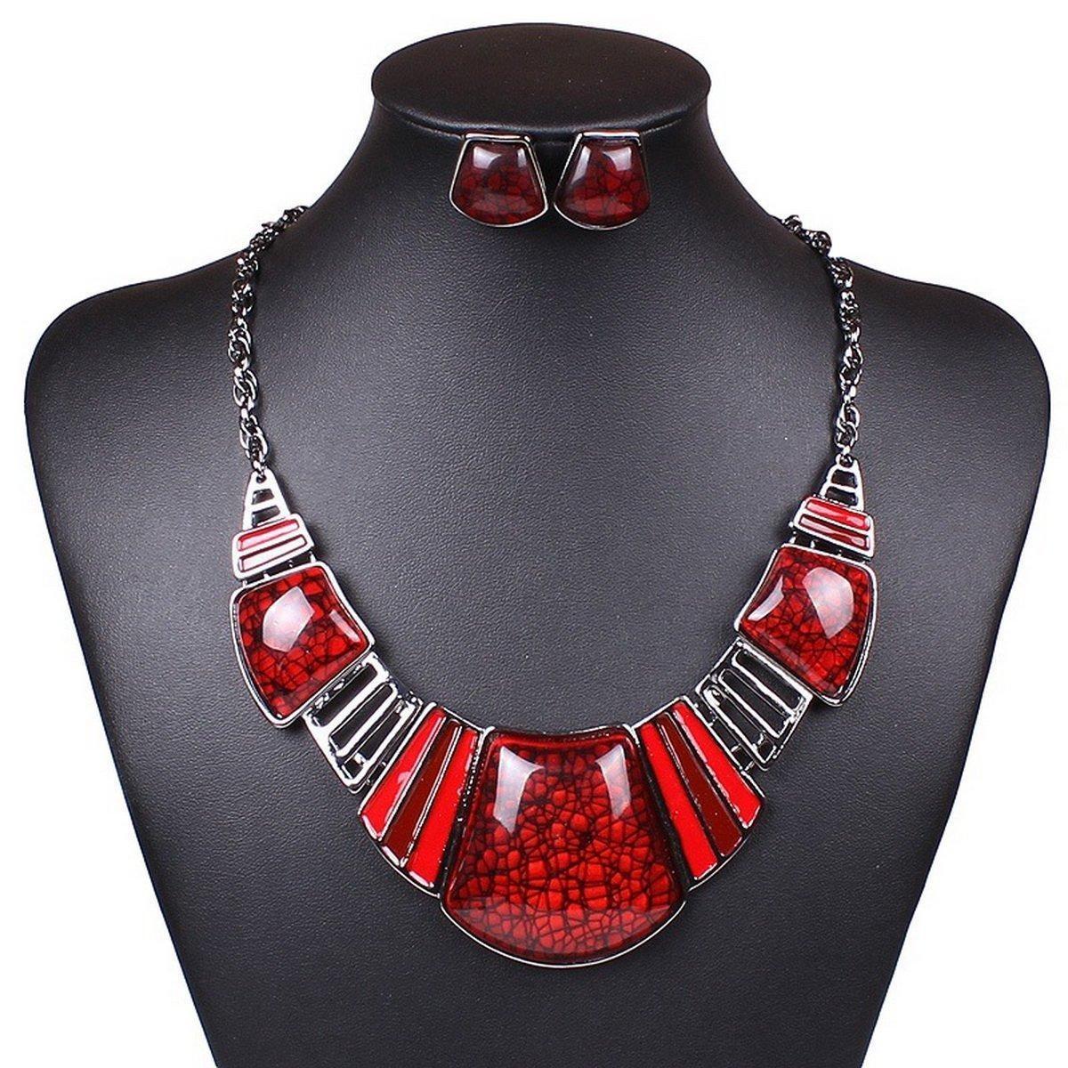 ARICO Moon Red Jewelry Sets Purple Enamel Jewelry Jewelry Set Resin Geometric Square Statement Necklace Set Earrings NB159