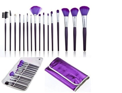 CINEEN Professional 16Pcs Makeup Brushes Kit Cosmetics Brush Brushes Foundation Brushes Powder Brushes Eyeliner Brushes with Purple Leather Case Pouch Bag