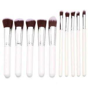 Celltronic 10PCS Makeup Brushes Set Cosmetic Foundation Blending Blush Brush Kit (White Silver)