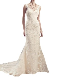 Olivia's Womens Double V-Neck Wedding Dresses Lace Bridal Gown