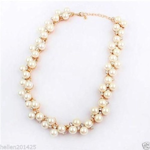 Fashion Women Jewelry Crystal Pearl Necklace Statement Bib Chunky Pendant Chain
