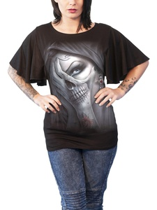 Spiral T Shirt Dead Hand Womens Goth Boat Neck Bat Sleeve Top Black
