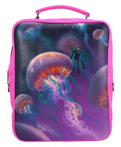 Genuine Leather Casual Square Backpack with Big Jellyfishes and Diver in Fantasy Underwater Print