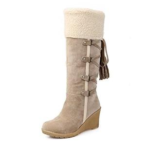 Venkes Women's Suede Round toe Wedge Heel Mid-Calf Boots