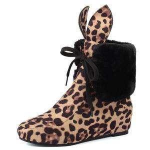 Fashion Heel Women's Wedge Heel Round Toe Lace Up Leopard Print Ankle Cute Bootie (4.5, black)