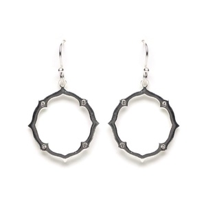 Tomas Sterling Silver Open Zen Hoop with Clear Crystals Hook Earrings