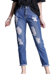 Season Show Women's Ripped Washed Boyfriend Denim Trousers Jeans Blue L