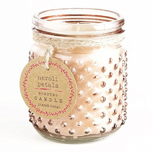Pink Neroli Petals Glass Hobnail Jar Candle