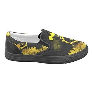 H-MOE Art Batman Men's Slip-on Canvas Shoes Casual Flats Breathable Sneakers,Black