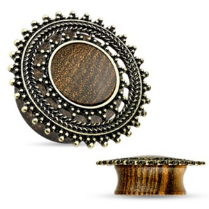 Natural Rose Wood WildKlass Saddle Plug with Tribal Round Shield Top (Sold as a Pair)