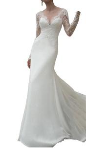 Meledy Women's V-Neck Lace Long Sleeves Mermaid Chiffon Wedding Bridal Gowns White US 10