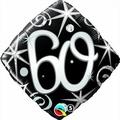 Qualatex Black & Silver Elegant Sparkles & Swirls 60th Birthday 18 Foil Balloon by Black/Silver/White Balloons & Decorations