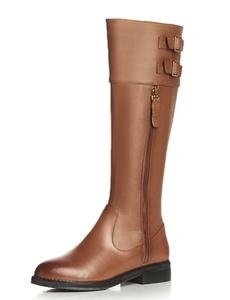 Nine Seven Genuine Leather Women's Round Toe Chunky Heel Buckle Knee High Handmade Riding Boot with Zip