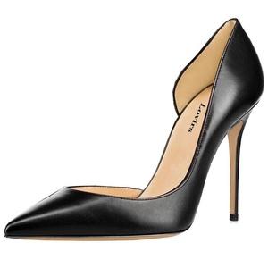 Lovirs Womens Black PU Pointed Toe Sexy High Heel Slip On Stiletto Pumps Wedding Party Plus Size Shoes 6 M US