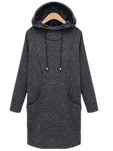 Season Show Womens Fleece Pullover Long Hooded Hoodie Sweatshirt Tunic Tops Grey S