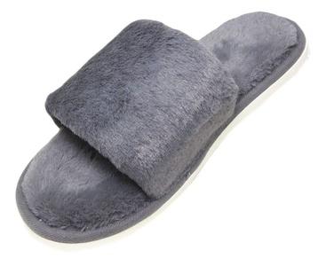 LA PLAGE Women's Fleece Comfy Warm Spa Slide Slippers US 9-10 gray