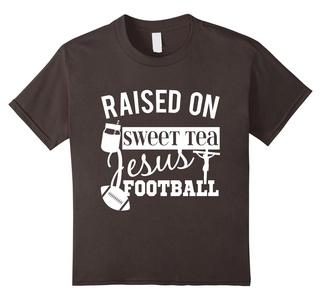 Kids Raised On Sweet Tea Jesus And Football Country Style T-Shirt 6 Asphalt