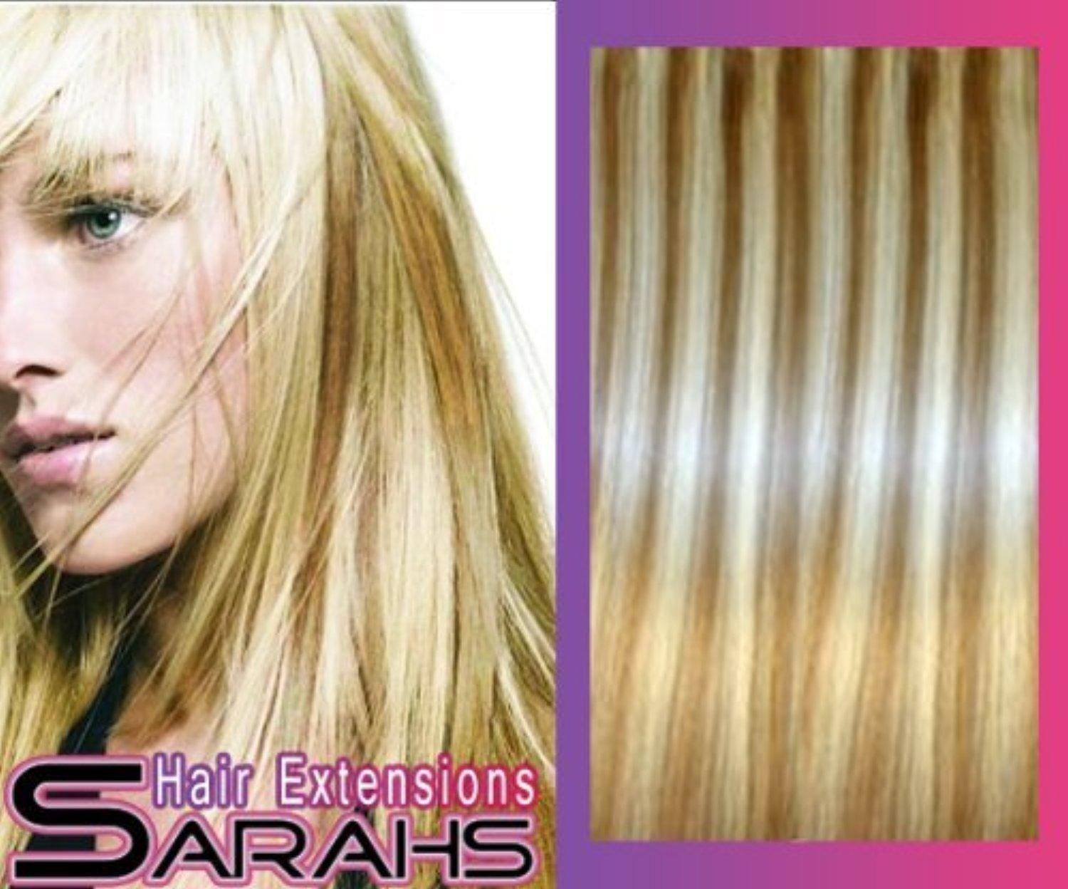 24 inch Mixed Blonde (18/22). Full Head. Clip in Synthetic Hair Extensions. by Luscious Hair Extensions