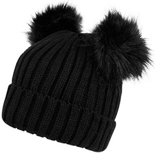 Fashion 21 Women's Winter Trendy Warm Knit Beanie Hat with Pom Pom Ears (3 Colors Available) (Black)