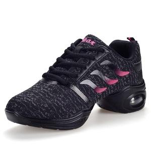SM Women's Plaza Dance Shoes Indoor Jazz Sneaker (US-6, Black)