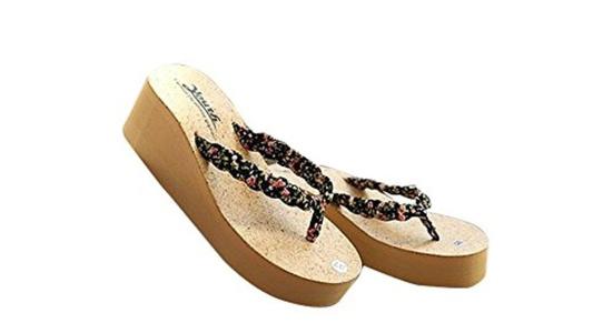 SusranZast Shoes Womens Popular Lovely Wedge High Heels Beach Flip Flop Wisp Sandals