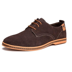 SimpVale Men Leather Oxford Shoes Suede Lace Up Platform Shoes