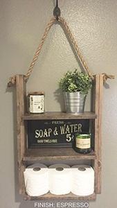 Rustic Bathroom Storage Shelf - Hanging Ladder Shelf with Rope - Bathroom Decor - Cabin Home Decor - Medicine Cabinet - Toilet Paper Holder