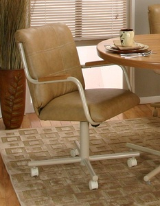 Casual Rolling Caster Dining Chair with Oak Arms and Polyurethane Seat and Back (1 Chair)