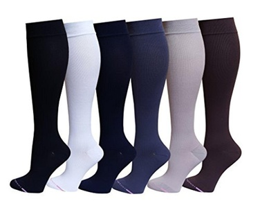 6 Pairs Pack Women Dr Motion Graduated Compression Knee High Socks (Assorted Solid Color) by Dr. Motion