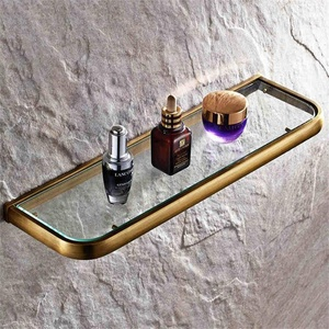 TOYM- Room toilet bathroom shower shower all copper wall-mounted shelf glass shelf cosmetics