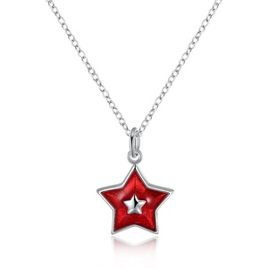 Jewelry for Women Pendant Necklaces Five-pointed Star Silver Plated Necklace by PRUNUS