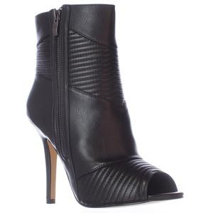 Chelsea & Zoe Gamila Peep Toe Dress Ankle Booties - Black Burnish, 6.5 M US
