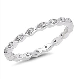 Eternity Band Sterling Silver with Clear Cubic Zirconia Midi Knuckle Stackable Promise Second Ring Size 5