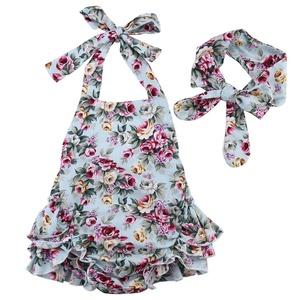 Newborn Baby Girls Halter Cotton Ruffles Romper Backless Sunsuit Jumpsuit Dress
