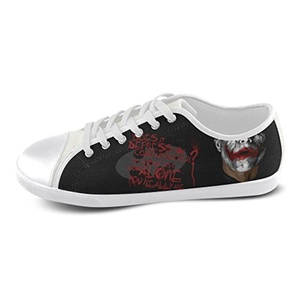 H-ome Art Batman Women's Low-top Lace-Up Canvas Shoes Breathable Sneakers,White